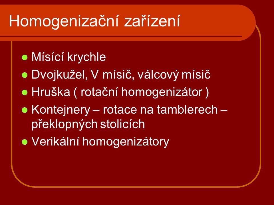 Homogenizační zařízení Mísící krychle Dvojkužel, V mísič, válcový mísič Hruška ( rotační homogenizátor ) Kontejnery – rotace na tamblerech – překlopný