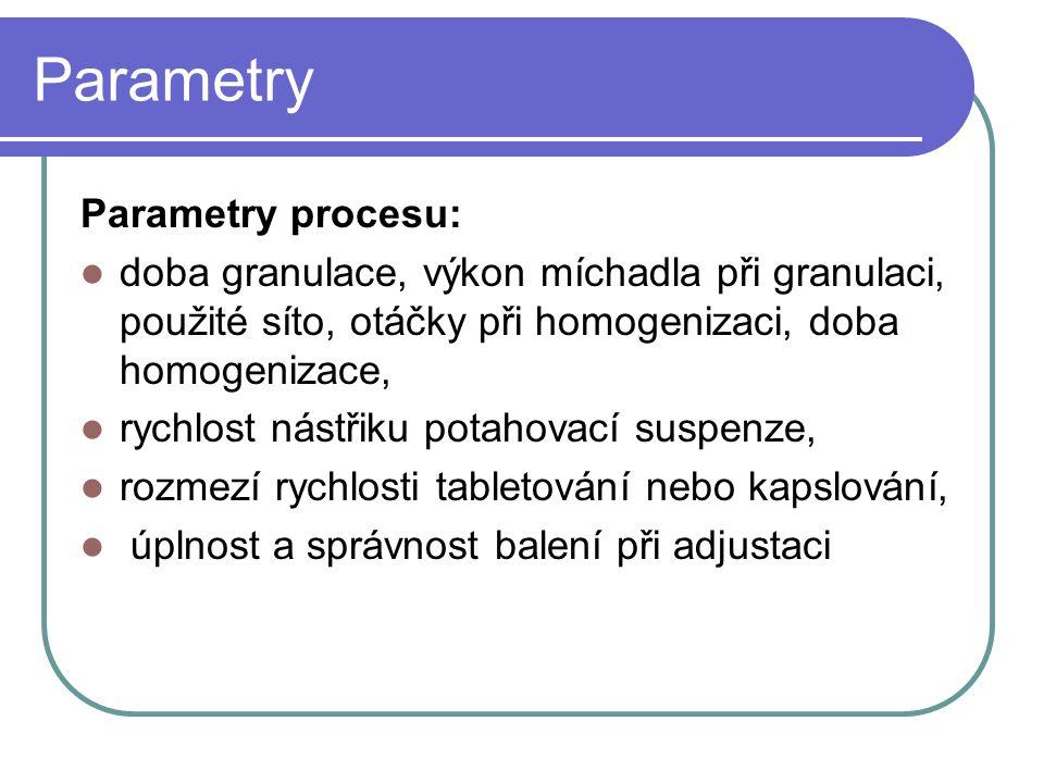 Parametry Parametry procesu: doba granulace, výkon míchadla při granulaci, použité síto, otáčky při homogenizaci, doba homogenizace, rychlost nástřiku