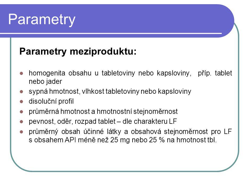 Parametry Parametry meziproduktu: homogenita obsahu u tabletoviny nebo kapsloviny, příp. tablet nebo jader sypná hmotnost, vlhkost tabletoviny nebo ka