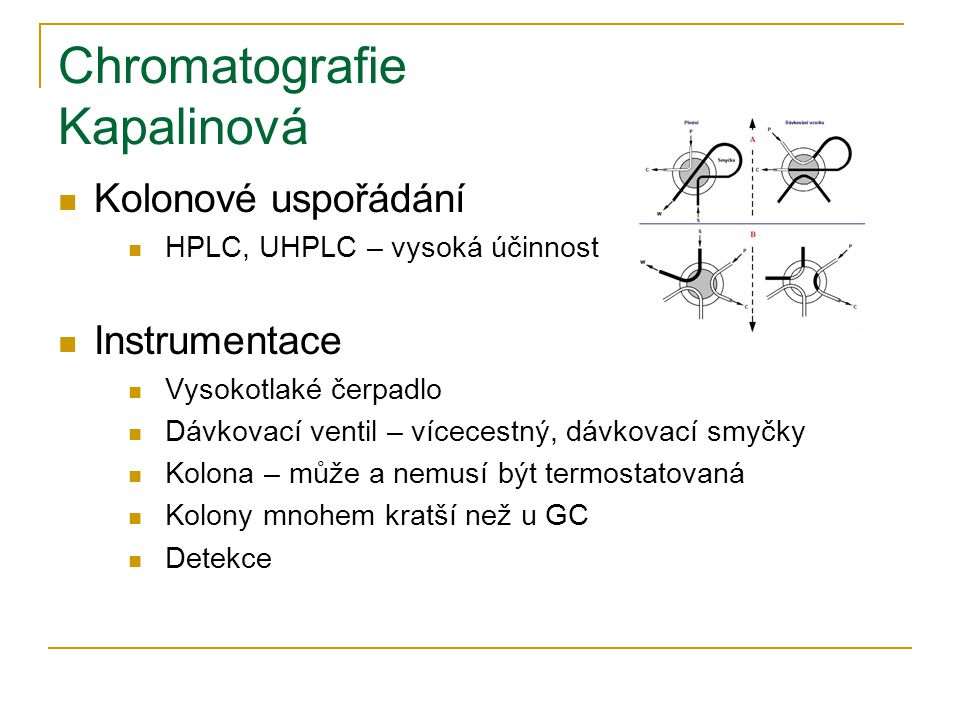 Chromatografie Kapalinová Kolonové uspořádání HPLC, UHPLC – vysoká účinnost Instrumentace Vysokotlaké čerpadlo Dávkovací ventil – vícecestný, dávkovací smyčky Kolona – může a nemusí být termostatovaná Kolony mnohem kratší než u GC Detekce