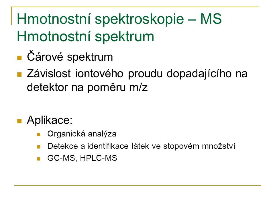 Hmotnostní spektroskopie – MS Hmotnostní spektrum Čárové spektrum Závislost iontového proudu dopadajícího na detektor na poměru m/z Aplikace: Organická analýza Detekce a identifikace látek ve stopovém množství GC-MS, HPLC-MS