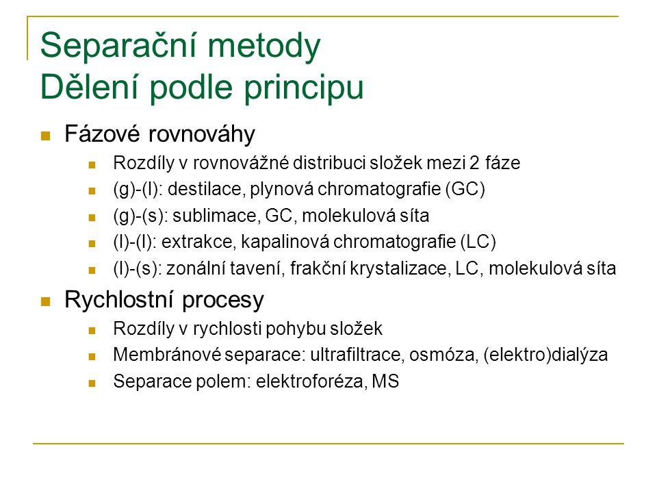 Separační metody Dělení podle principu Fázové rovnováhy Rozdíly v rovnovážné distribuci složek mezi 2 fáze (g)-(l): destilace, plynová chromatografie (GC) (g)-(s): sublimace, GC, molekulová síta (l)-(l): extrakce, kapalinová chromatografie (LC) (l)-(s): zonální tavení, frakční krystalizace, LC, molekulová síta Rychlostní procesy Rozdíly v rychlosti pohybu složek Membránové separace: ultrafiltrace, osmóza, (elektro)dialýza Separace polem: elektroforéza, MS