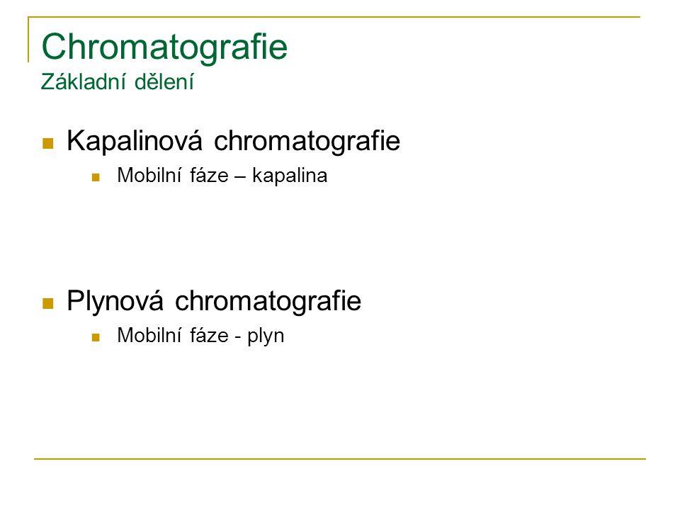 Chromatografie Základní dělení Kapalinová chromatografie Mobilní fáze – kapalina Plynová chromatografie Mobilní fáze - plyn