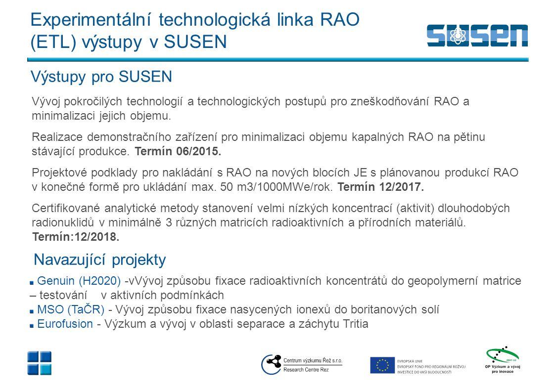Experimentální technologická linka RAO (ETL) výstupy v SUSEN Vývoj pokročilých technologií a technologických postupů pro zneškodňování RAO a minimaliz