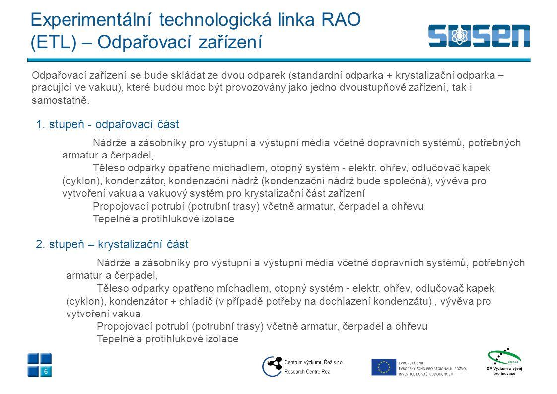 Experimentální technologická linka RAO (ETL) – Odpařovací zařízení 6 1. stupeň - odpařovací část Nádrže a zásobníky pro výstupní a výstupní média včet