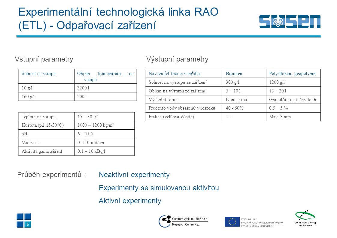 Experimentální technologická linka RAO (ETL) - Odpařovací zařízení Solnost na vstupuObjem koncentrátu na vstupu 10 g/l3200 l 160 g/l200 l Teplota na v