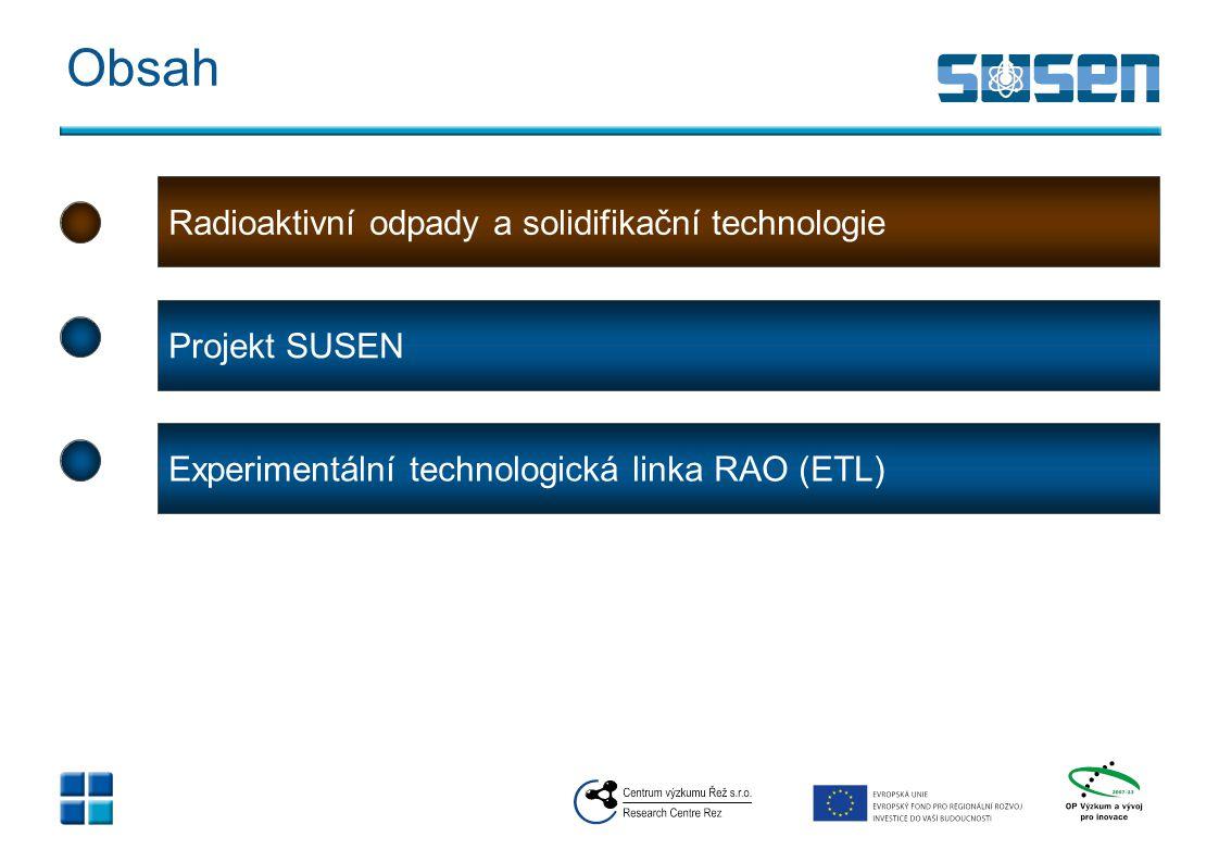 Obsah Radioaktivní odpady a solidifikační technologie Projekt SUSEN Experimentální technologická linka RAO (ETL)
