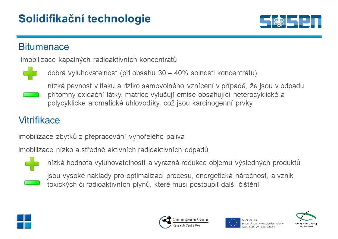 Solidifikační technologie imobilizace kapalných radioaktivních koncentrátů dobrá vyluhovatelnost (při obsahu 30 – 40% solnosti koncentrátů) nízká pevn