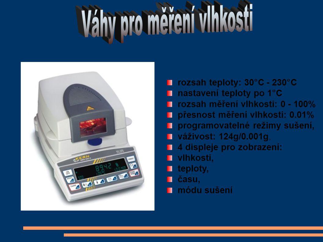 rozsah teploty: 30°C - 230°C nastavení teploty po 1°C rozsah měření vlhkosti: 0 - 100% přesnost měření vlhkosti: 0.01% programovatelné režimy sušení, váživost: 124g/0.001g, 4 displeje pro zobrazení: vlhkosti, teploty, času, módu sušení