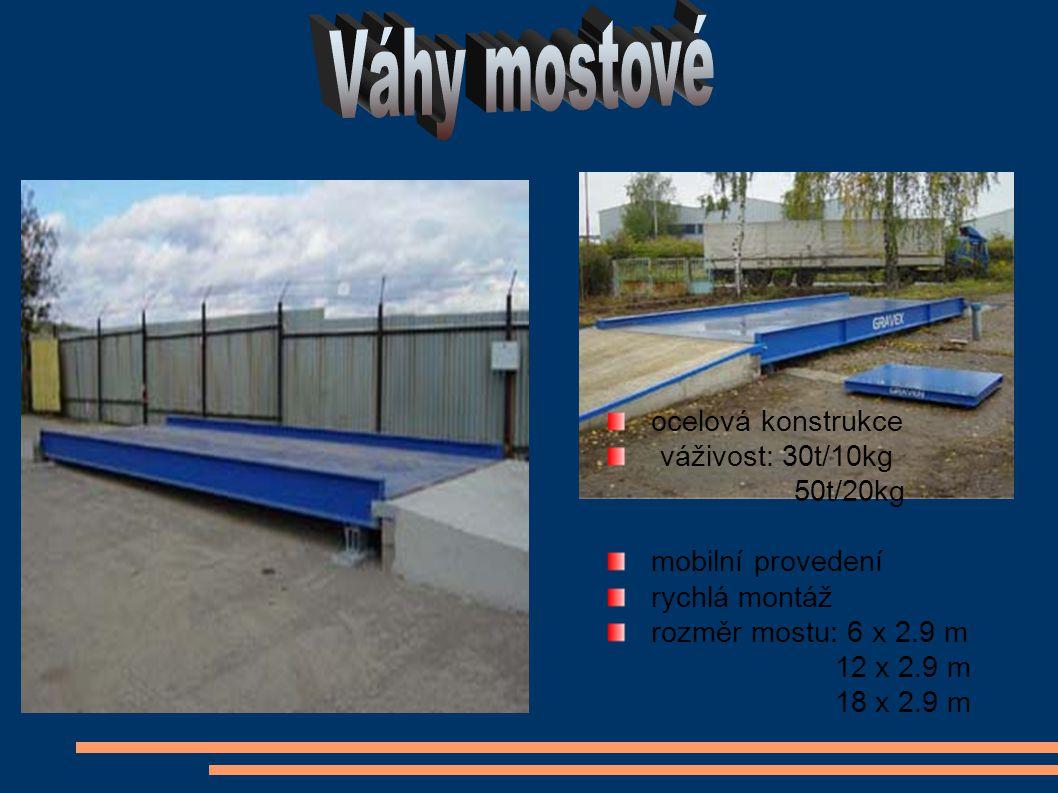 ocelová konstrukce váživost: 30t/10kg 50t/20kg mobilní provedení rychlá montáž rozměr mostu: 6 x 2.9 m 12 x 2.9 m 18 x 2.9 m