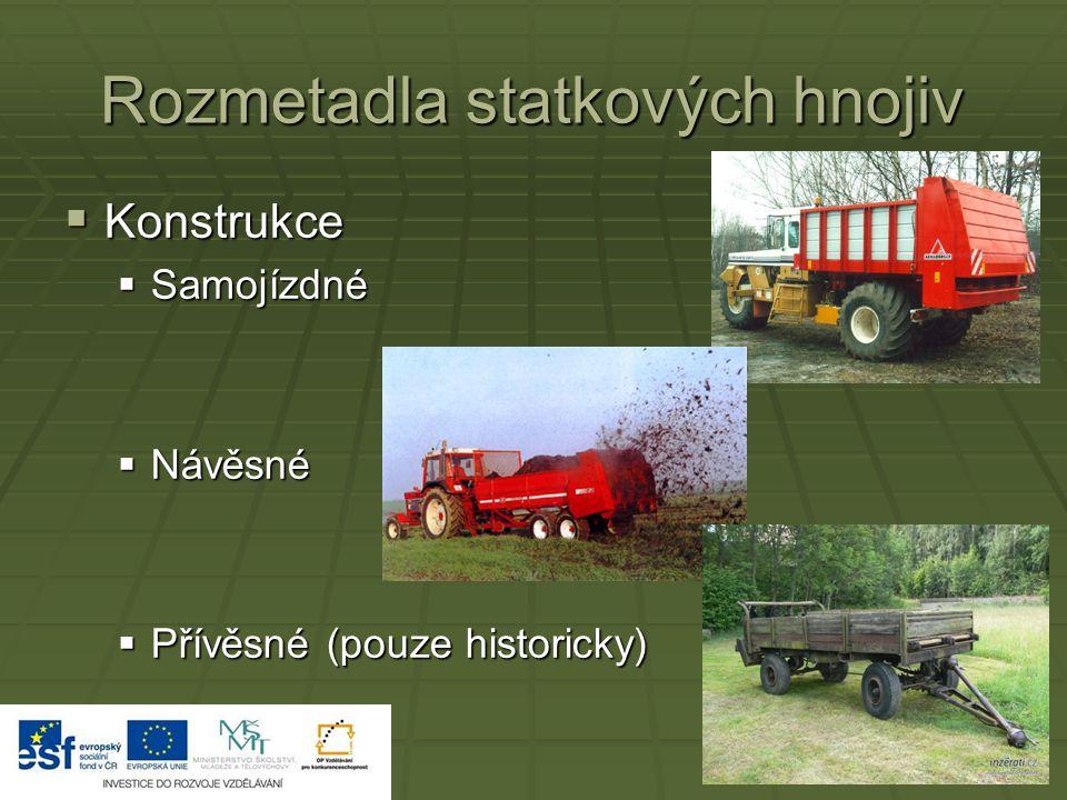 Rozmetadla statkových hnojiv  Konstrukce  Samojízdné  Návěsné  Přívěsné (pouze historicky)