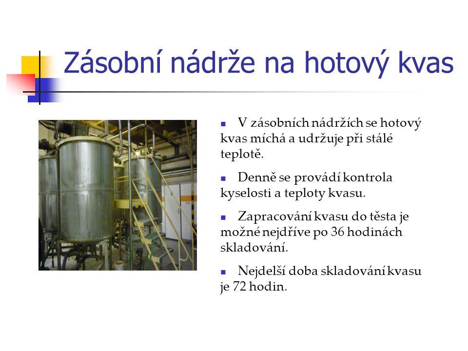 Zásobní nádrže na hotový kvas V zásobních nádržích se hotový kvas míchá a udržuje při stálé teplotě. Denně se provádí kontrola kyselosti a teploty kva