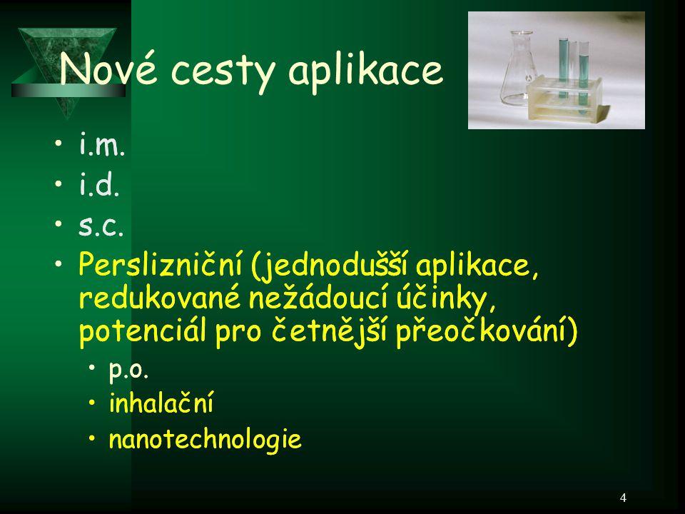 4 Nové cesty aplikace i.m. i.d. s.c. Perslizniční (jednodušší aplikace, redukované nežádoucí účinky, potenciál pro četnější přeočkování) p.o. inhalačn