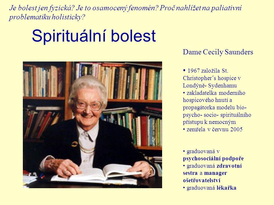 Spirituální bolest Dame Cecily Saunders 1967 založila St.