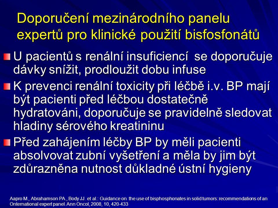 Doporučení mezinárodního panelu expertů pro klinické použití bisfosfonátů U pacientů s renální insuficiencí se doporučuje dávky snížit, prodloužit dob