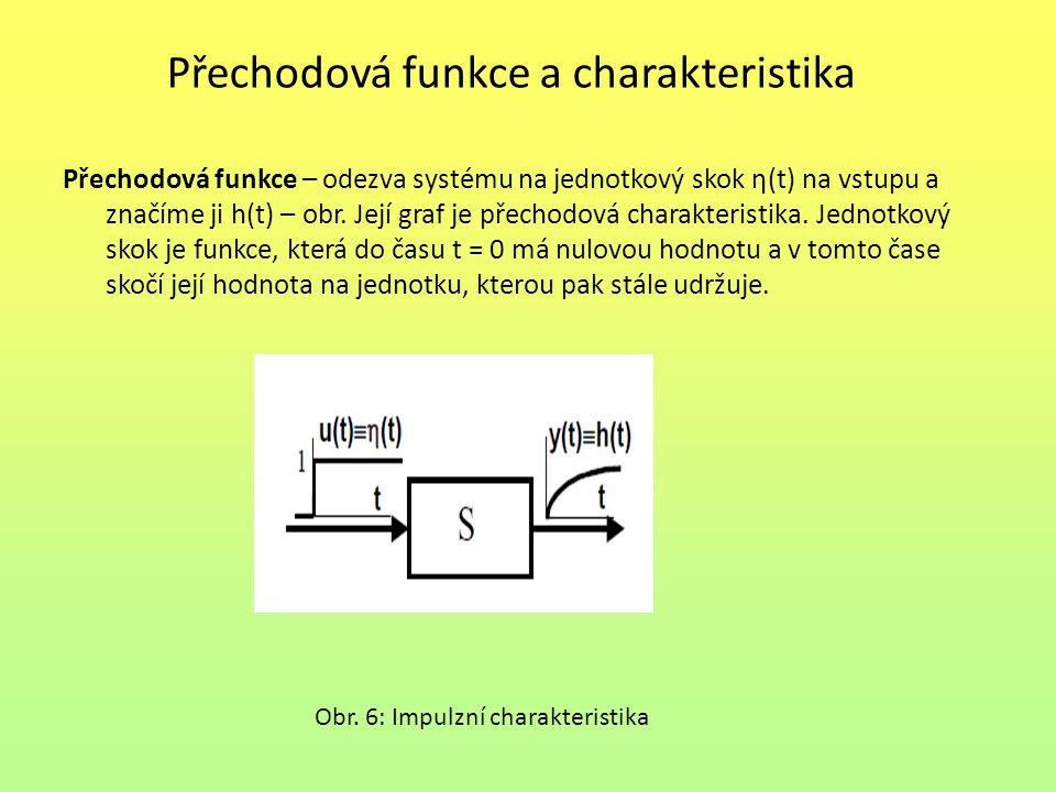 Přechodová funkce a charakteristika Přechodová funkce – odezva systému na jednotkový skok η(t) na vstupu a značíme ji h(t) – obr. Její graf je přechod