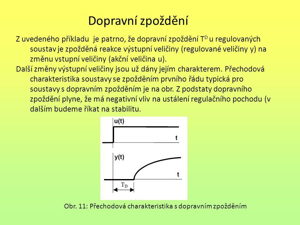 Dopravní zpoždění Z uvedeného příkladu je patrno, že dopravní zpoždění T D u regulovaných soustav je zpožděná reakce výstupní veličiny (regulované vel