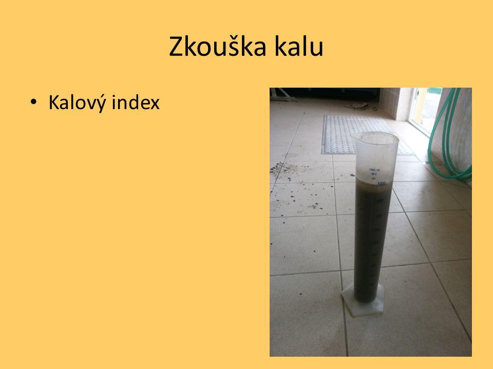 Zkouška kalu Kalový index