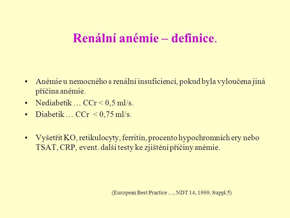 Renální anémie – definice. Anémie u nemocného s renální insuficiencí, pokud byla vyloučena jiná příčina anémie. Nediabetik … CCr < 0,5 ml/s. Diabetik