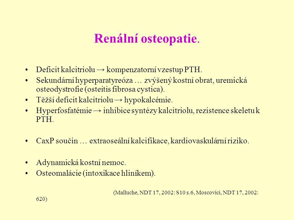 Renální osteopatie. Deficit kalcitriolu → kompenzatorní vzestup PTH. Sekundární hyperparatyreóza … zvýšený kostní obrat, uremická osteodystrofie (oste