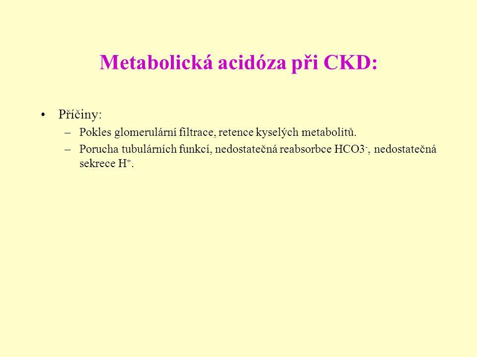 Metabolická acidóza při CKD: Příčiny: –Pokles glomerulární filtrace, retence kyselých metabolitů. –Porucha tubulárních funkcí, nedostatečná reabsorbce