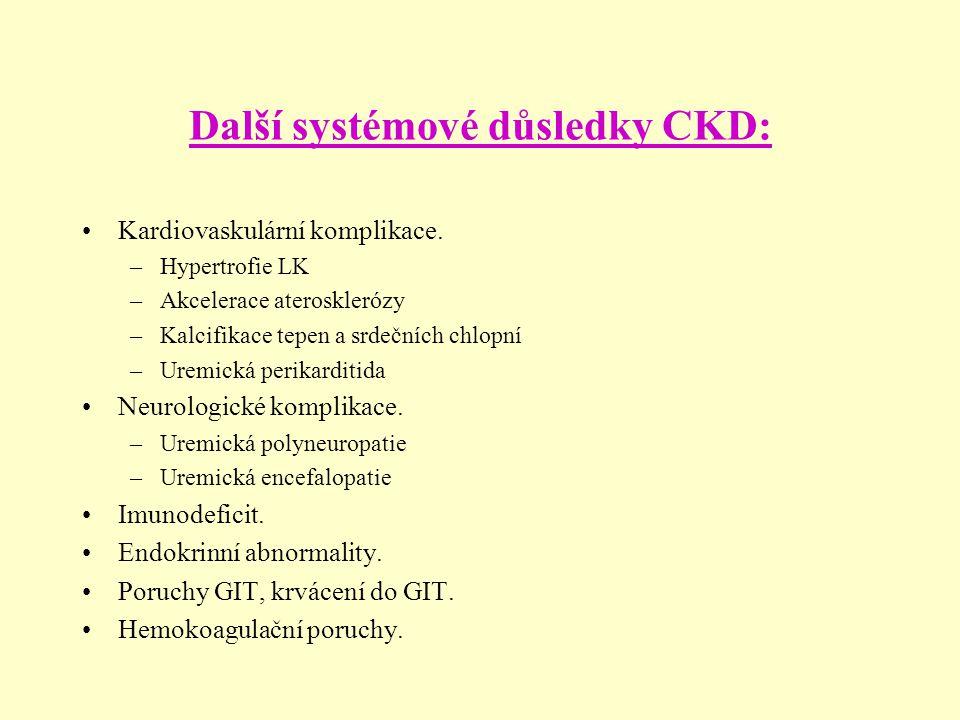 Další systémové důsledky CKD: Kardiovaskulární komplikace. –Hypertrofie LK –Akcelerace aterosklerózy –Kalcifikace tepen a srdečních chlopní –Uremická