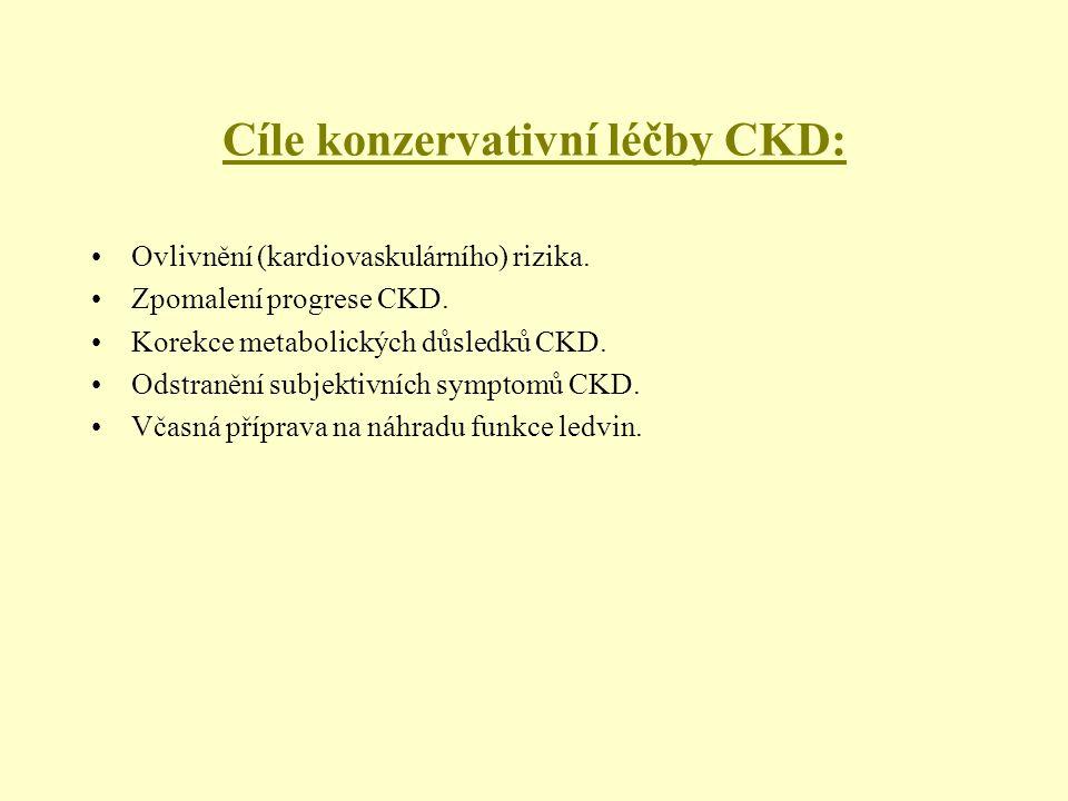 Cíle konzervativní léčby CKD: Ovlivnění (kardiovaskulárního) rizika. Zpomalení progrese CKD. Korekce metabolických důsledků CKD. Odstranění subjektivn