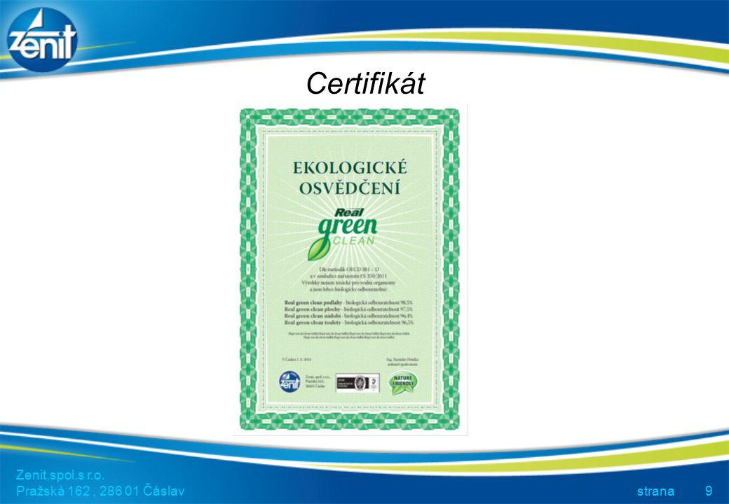 Certifikát Zenit,spol.s r.o. Pražská 162, 286 01 Čáslav strana9