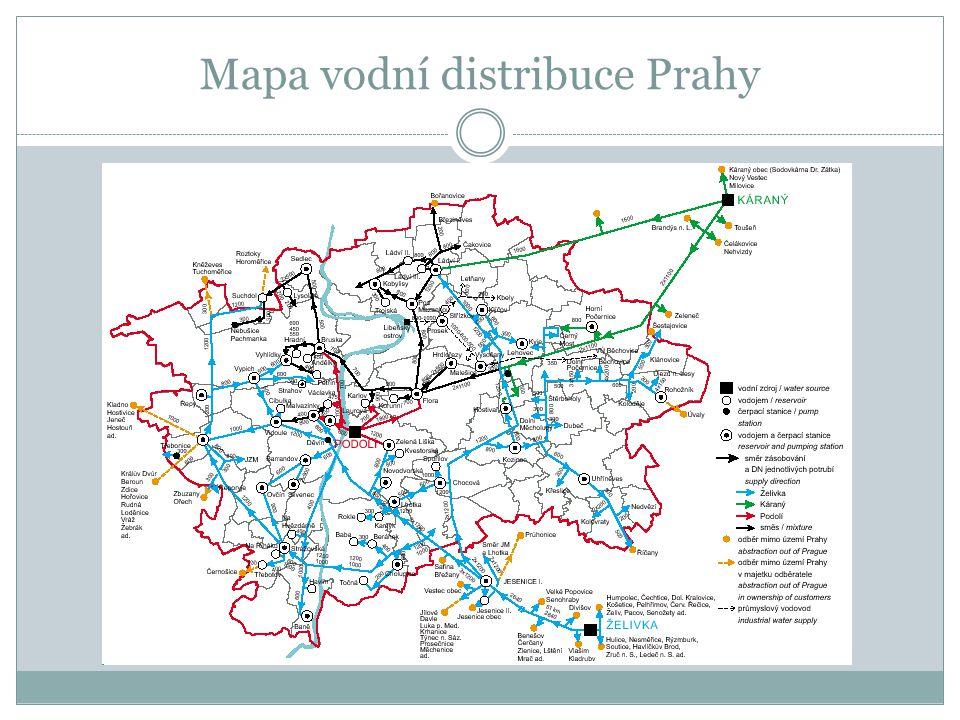 Mapa vodní distribuce Prahy