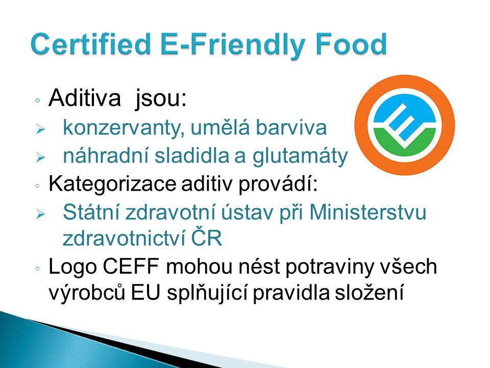◦ Přídatné látky (aditiva)  ochranu spotřebitelů zajišťuje Evropský úřad pro bezpečnost potravin  maximálně přijatelná denní dávka ADI (Acceptable Daily Intakte)  hodnoty ADI upravuje směrnice Evropské Komise  závazné pro všechny členské státy EU