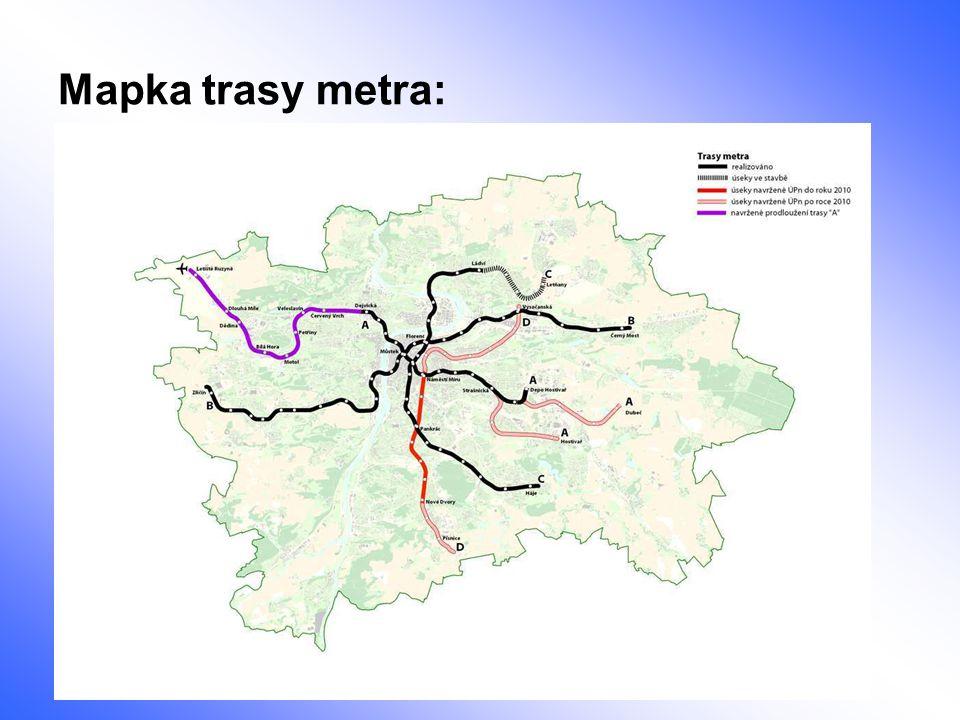 Mapka trasy metra: