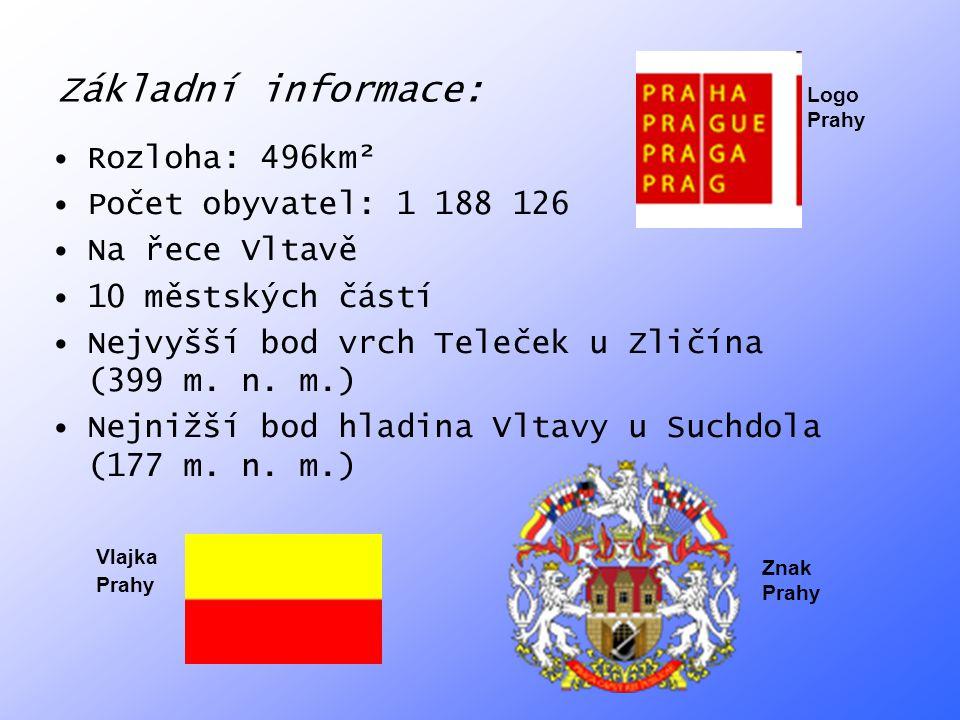 Základní informace: Rozloha: 496km² Počet obyvatel: 1 188 126 Na řece Vltavě 10 městských částí Nejvyšší bod vrch Teleček u Zličína (399 m. n. m.) Nej