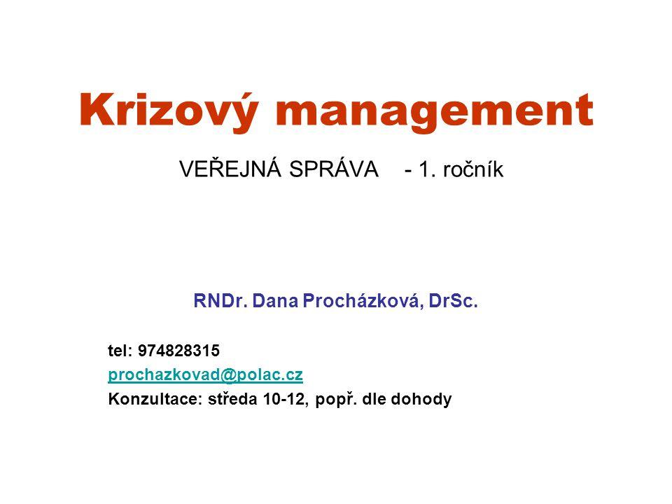 Obsah Historie a současnost krizového managementu Teoretické základy krizového managementu Člověk jako součást krizového managementu Procesní základy krizového managementu Literatura k problematice D.