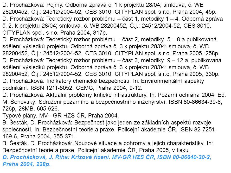 D. Procházková: Pojmy. Odborná zpráva č. 1 k projektu 28/04; smlouva, č. WB 28200452, Č.j.: 24512/2004-52, CES 3010. CITYPLAN spol. s r.o. Praha 2004,