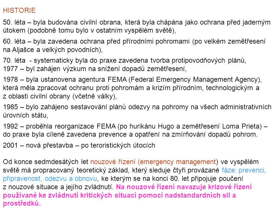 Vedle uvedených aktivit, zahrnovaných do nouzového a krizového řízení, se na sobě nezávisle rozvíjely další činnosti, a to: - ochrana životního prostředí - EIA v USA – r.