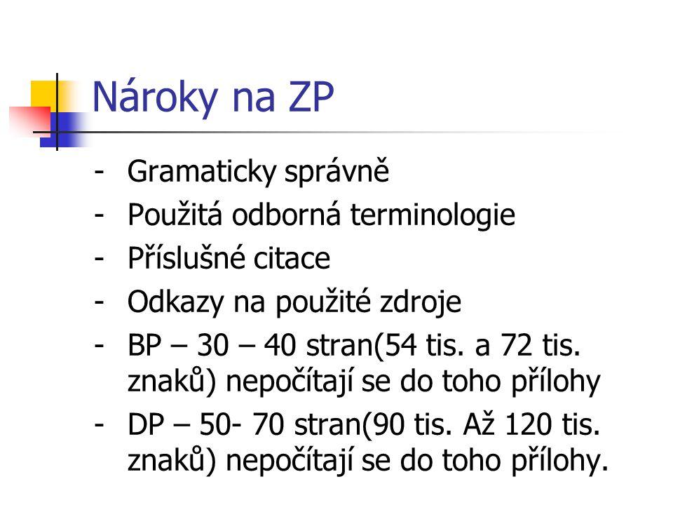 Nároky na ZP -Gramaticky správně -Použitá odborná terminologie -Příslušné citace -Odkazy na použité zdroje -BP – 30 – 40 stran(54 tis. a 72 tis. znaků