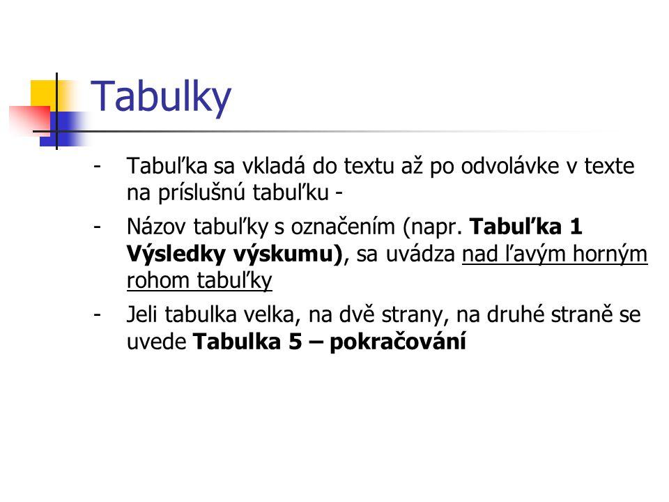 Tabulky -Tabuľka sa vkladá do textu až po odvolávke v texte na príslušnú tabuľku - -Názov tabuľky s označením (napr. Tabuľka 1 Výsledky výskumu), sa u