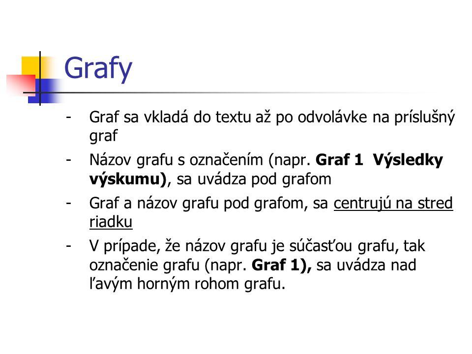 Grafy -Graf sa vkladá do textu až po odvolávke na príslušný graf -Názov grafu s označením (napr. Graf 1 Výsledky výskumu), sa uvádza pod grafom -Graf