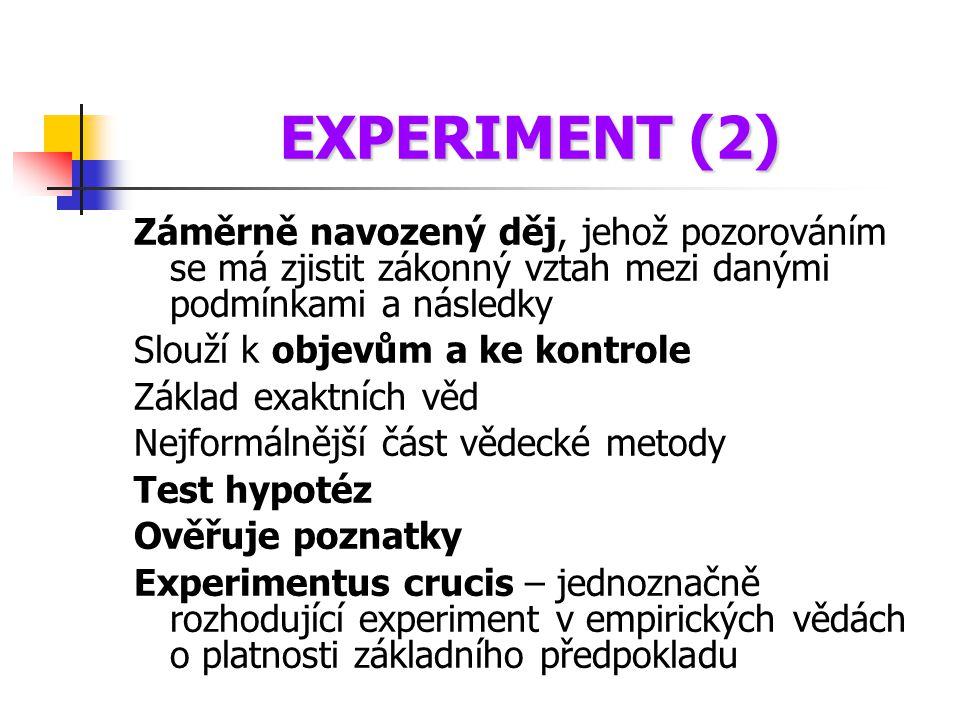 EXPERIMENT (2) Záměrně navozený děj, jehož pozorováním se má zjistit zákonný vztah mezi danými podmínkami a následky Slouží k objevům a ke kontrole Zá