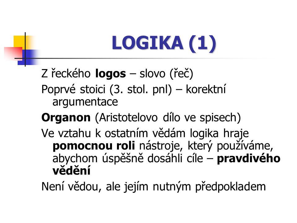 LOGIKA (1) Z řeckého logos – slovo (řeč) Poprvé stoici (3. stol. pnl) – korektní argumentace Organon (Aristotelovo dílo ve spisech) Ve vztahu k ostatn