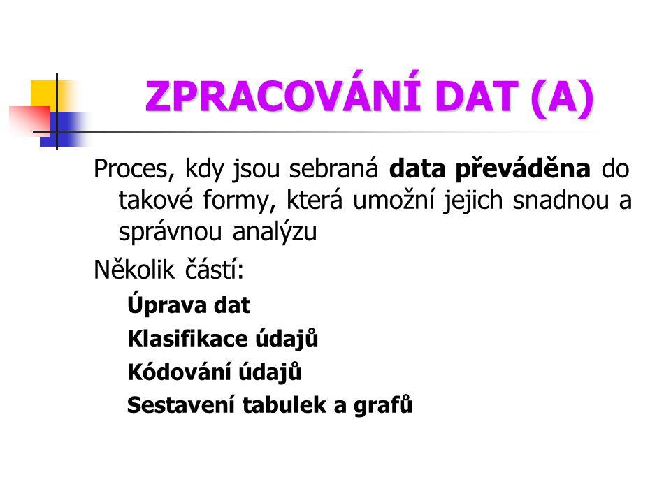 ZPRACOVÁNÍ DAT (A) Proces, kdy jsou sebraná data převáděna do takové formy, která umožní jejich snadnou a správnou analýzu Několik částí: Úprava dat K