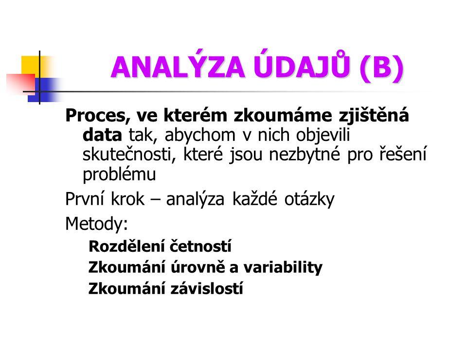 ANALÝZA ÚDAJŮ (B) Proces, ve kterém zkoumáme zjištěná data tak, abychom v nich objevili skutečnosti, které jsou nezbytné pro řešení problému První kro