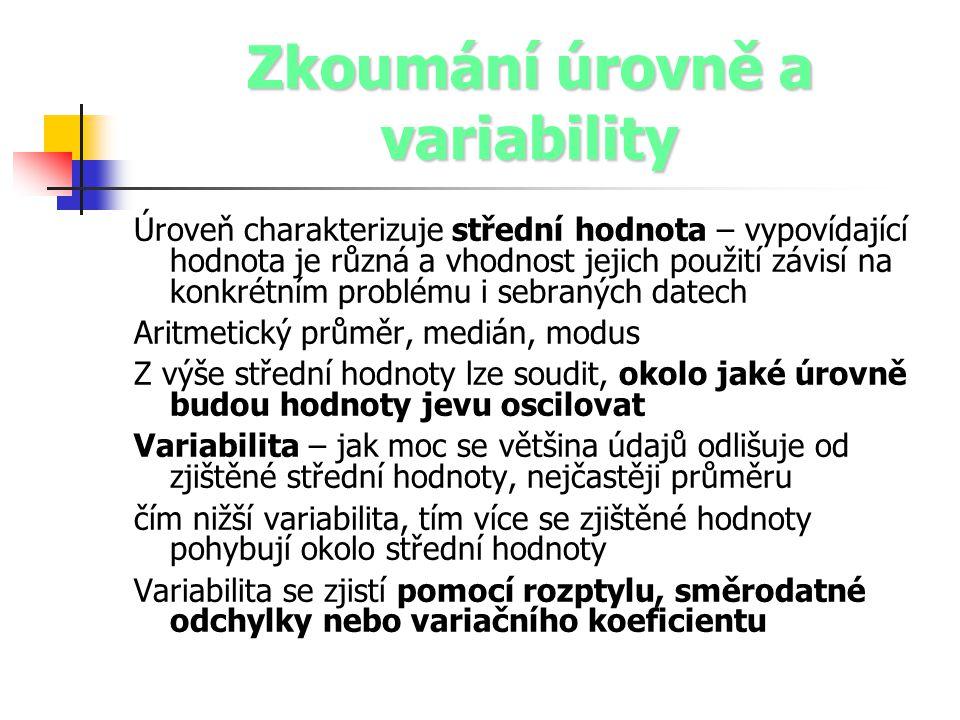 Zkoumání úrovně a variability Úroveň charakterizuje střední hodnota – vypovídající hodnota je různá a vhodnost jejich použití závisí na konkrétním pro
