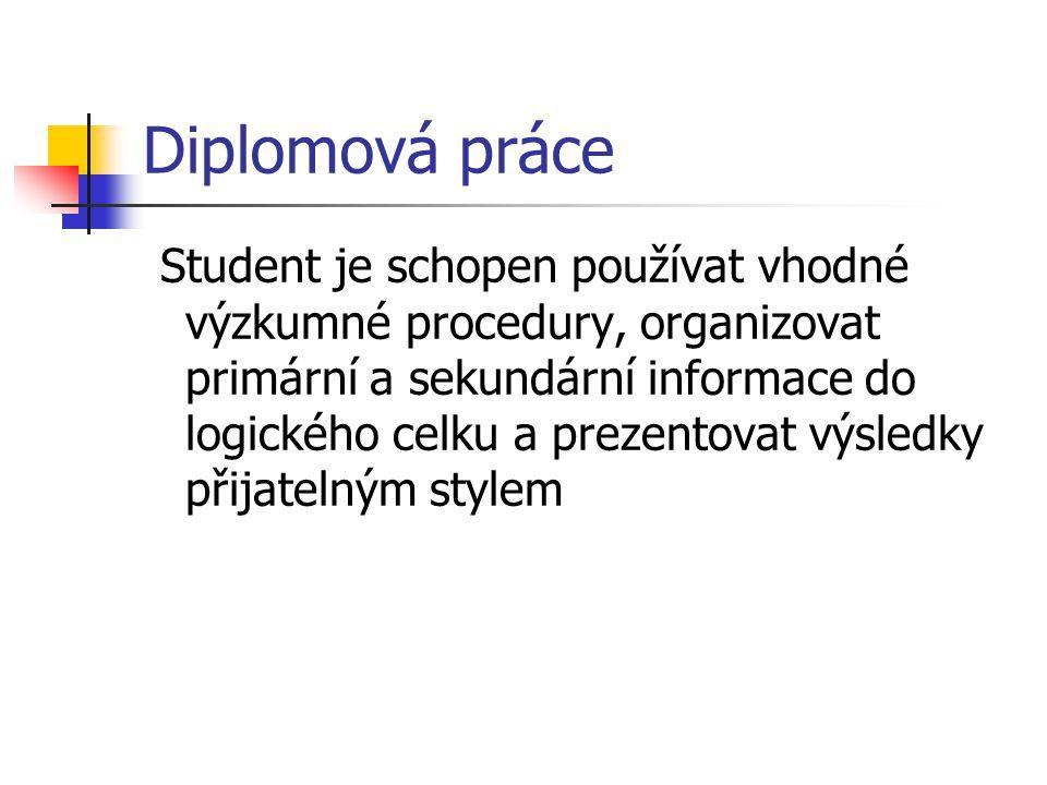 Diplomová práce Student je schopen používat vhodné výzkumné procedury, organizovat primární a sekundární informace do logického celku a prezentovat vý
