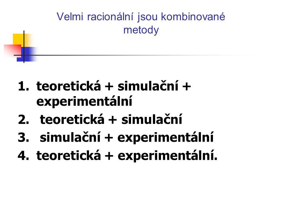 Velmi racionální jsou kombinované metody 1.teoretická + simulační + experimentální 2. teoretická + simulační 3. simulační + experimentální 4.teoretick