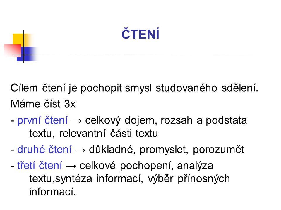 ČTENÍ Cílem čtení je pochopit smysl studovaného sdělení. Máme číst 3x - první čtení → celkový dojem, rozsah a podstata textu, relevantní části textu -