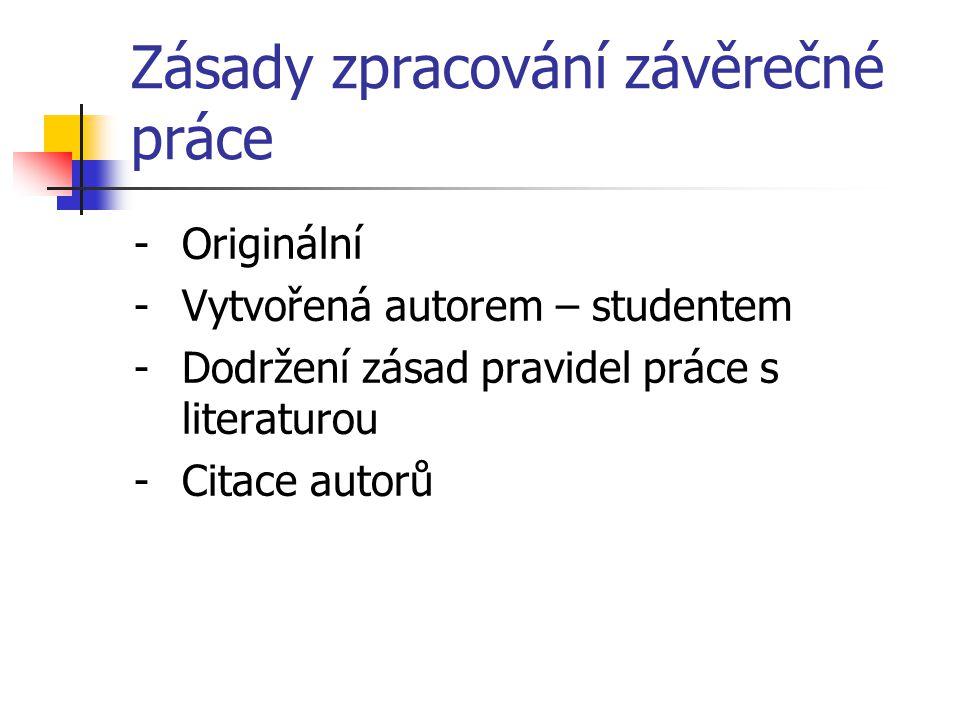 Zásady zpracování závěrečné práce -Originální -Vytvořená autorem – studentem -Dodržení zásad pravidel práce s literaturou -Citace autorů