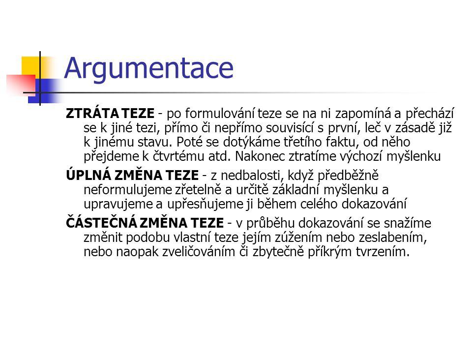 Argumentace ZTRÁTA TEZE - po formulování teze se na ni zapomíná a přechází se k jiné tezi, přímo či nepřímo souvisící s první, leč v zásadě již k jiné