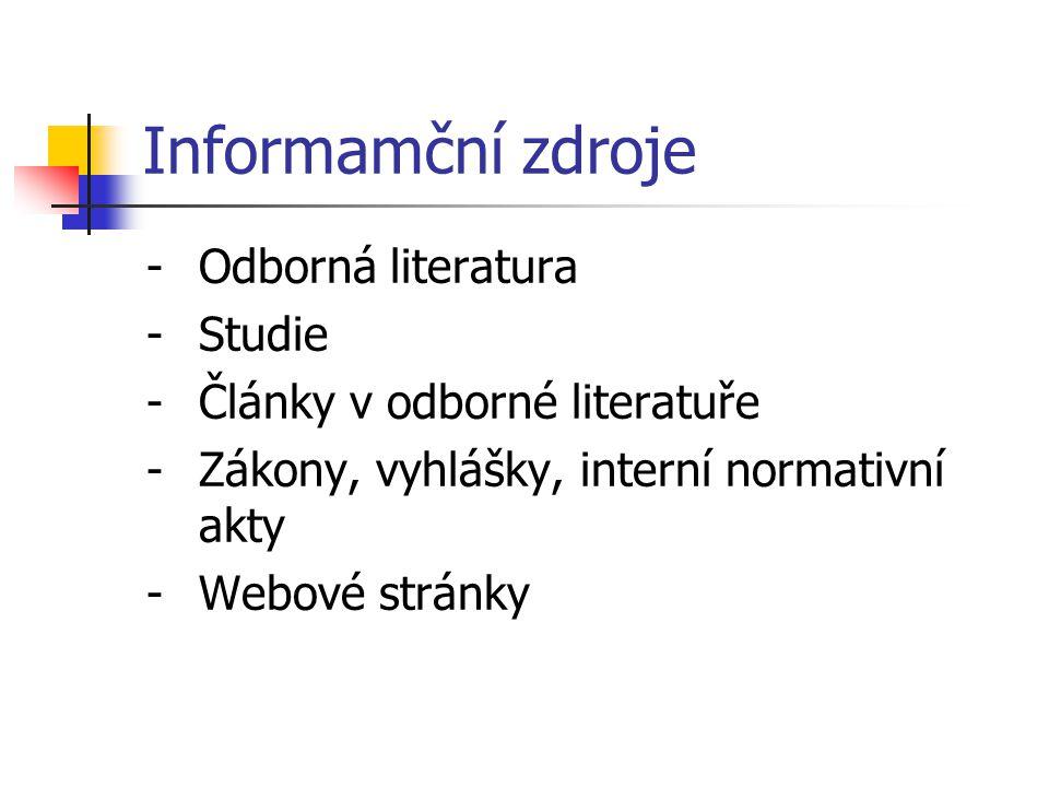 Informamční zdroje -Odborná literatura -Studie -Články v odborné literatuře -Zákony, vyhlášky, interní normativní akty -Webové stránky