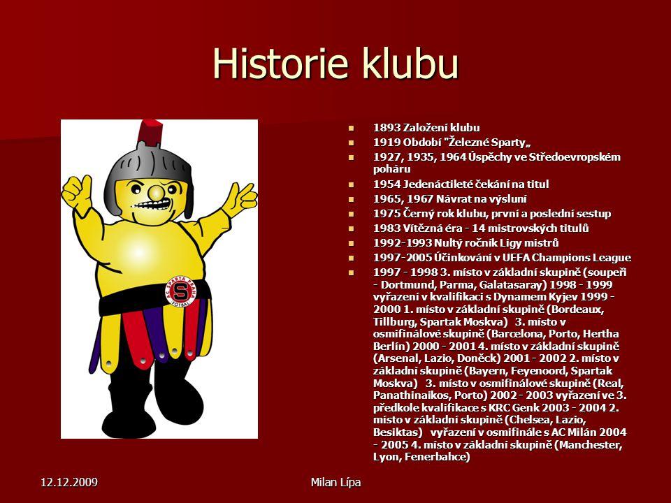 12.12.2009Milan Lípa Historie klubu 1893 Založení klubu 1893 Založení klubu 1919 Období